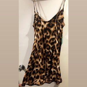 woven leopard print mini dress